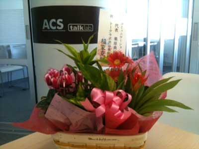 トークラボ渋谷校開設のお祝いにいただいたお花です。